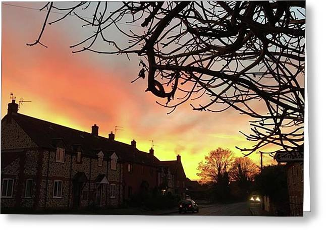 Last Night's Sunset From Our Cottage Greeting Card by John Edwards