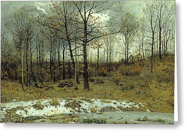Last Snow At Weimar Greeting Card by Karl Buchholz
