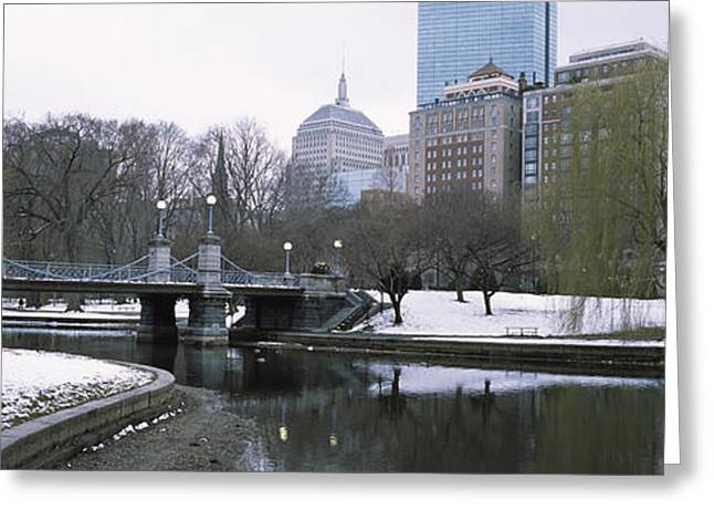 Last Snow Of The Season, Boston Public Greeting Card by Panoramic Images