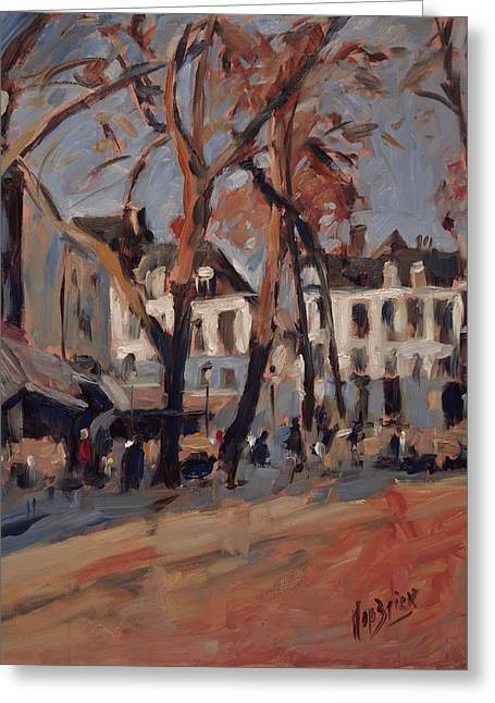 Last Sunbeams Our Lady Square Maastricht Greeting Card by Nop Briex