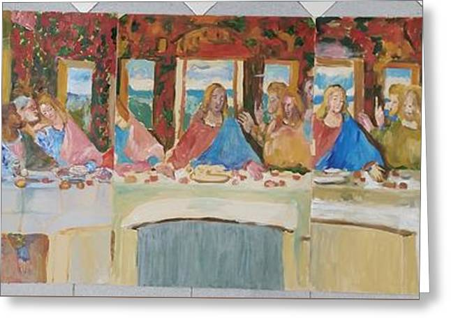 Last Supper Sketch Five Pannels Greeting Card