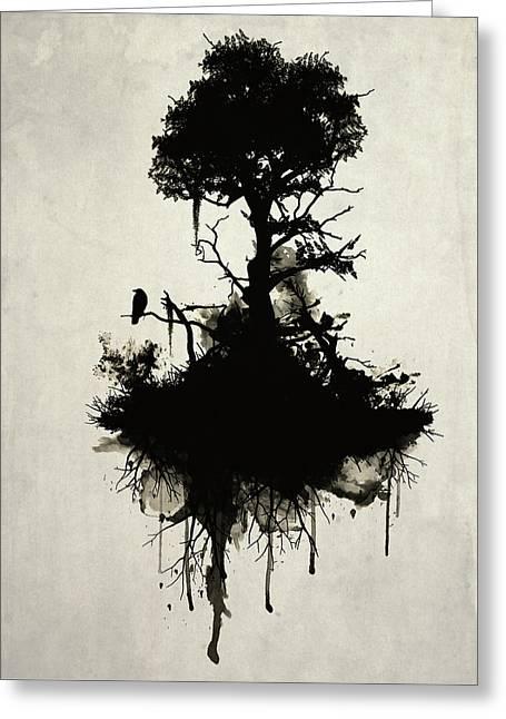 Smoke Greeting Cards - Last Tree Standing Greeting Card by Nicklas Gustafsson