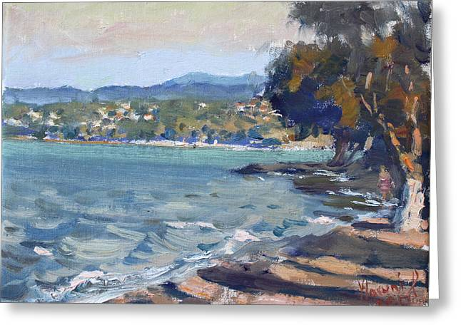 Late Afternoon At Dilesi Beach Athens Greeting Card