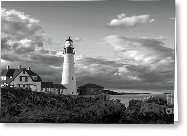 Late Afternoon Clouds, Portland Head Light  -98461 Greeting Card