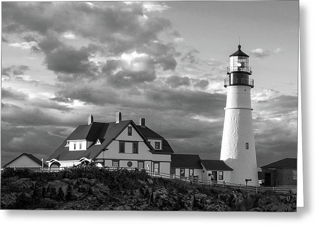 Late Afternoon Clouds, Portland Head Light  -98461-sq Greeting Card