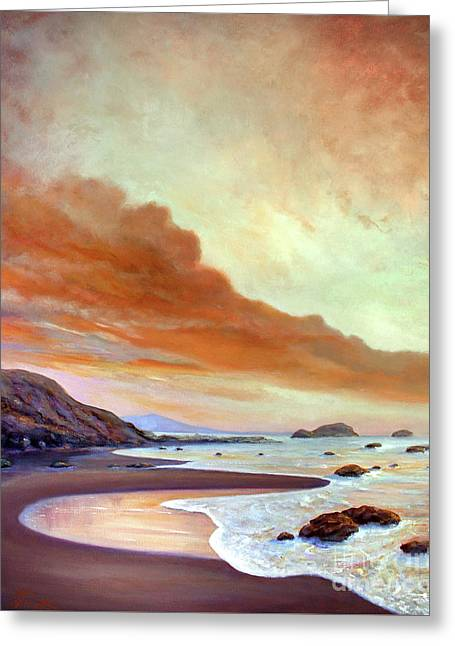 Late Afternoon On San Simeon Beach Greeting Card by Michael Rock