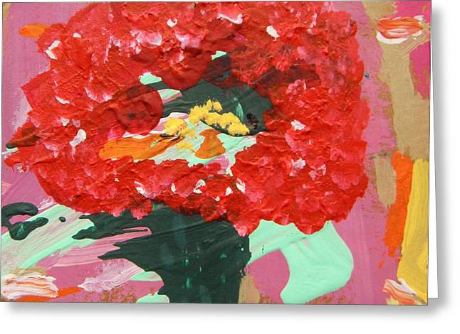 Red Geraniums Drawings Greeting Cards - Late Day Geranium Greeting Card by Mary Carol Williams
