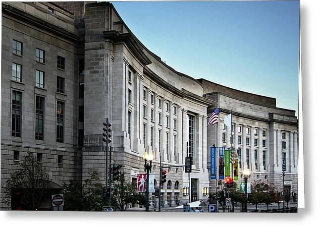 Late Evening At The Ronald Reagan Building Greeting Card by Greg Mimbs