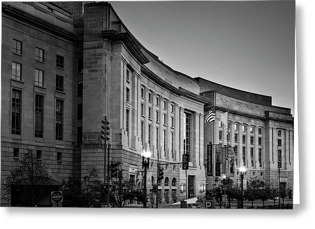 Greeting Card featuring the photograph Late Evening At The Ronald Reagan Building In Black And White by Greg Mimbs