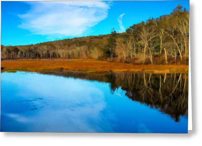 Late Fall At A Connecticut Marsh. Greeting Card