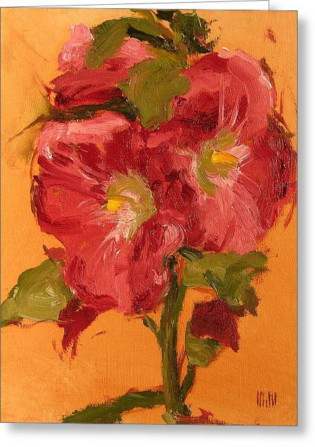 Late Hollyhocks Greeting Card by Mary McInnis