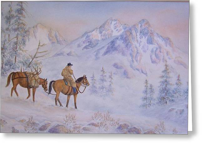 Late Hunt - In The Sawtooth Mountains Greeting Card by Cherry Woodbury