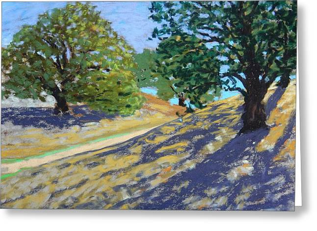 Greeting Card featuring the painting Late Light's Shadows by Gary Coleman