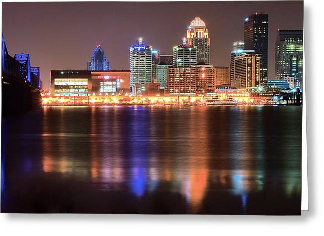 Late Night In Louisville Greeting Card by Frozen in Time Fine Art Photography