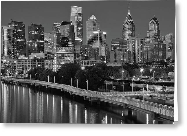Late Night Philly Grayscale Greeting Card
