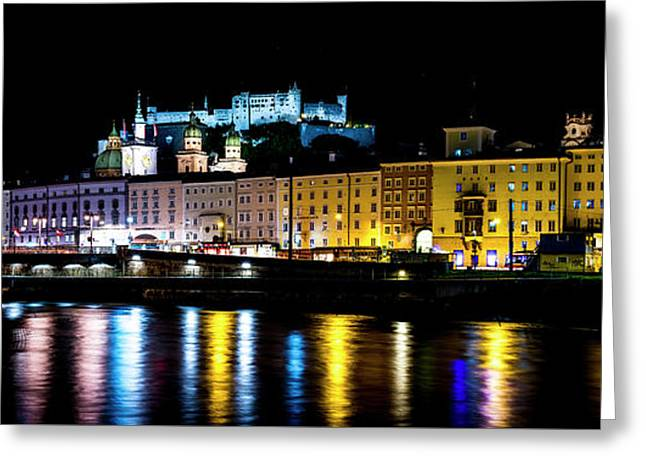 Late Night Stroll In Salzburg Greeting Card by David Morefield