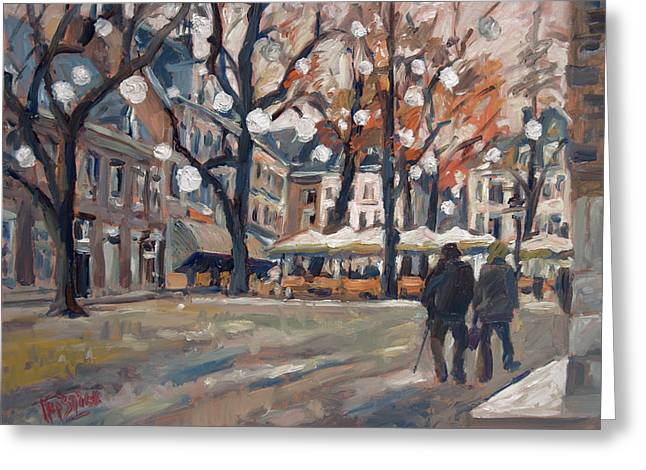 Late November At The Our Lady Square Maastricht Greeting Card by Nop Briex