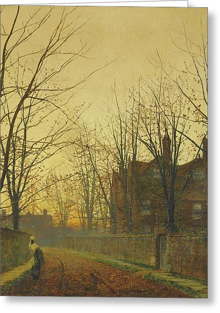 Late October Greeting Card by John Atkinson Grimshaw