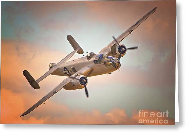 Late Return,north American B-25 Mitchell  Greeting Card by Gus McCrea