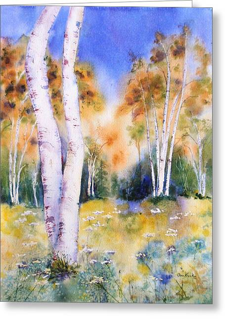 Late Summer Birches Greeting Card