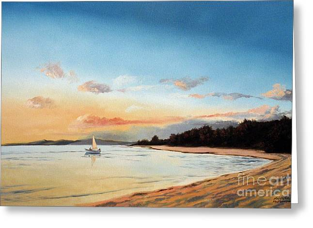 Late Sunset Along The Beach Greeting Card