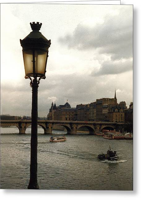 Latern On The Sienne Greeting Card by Harvie Brown