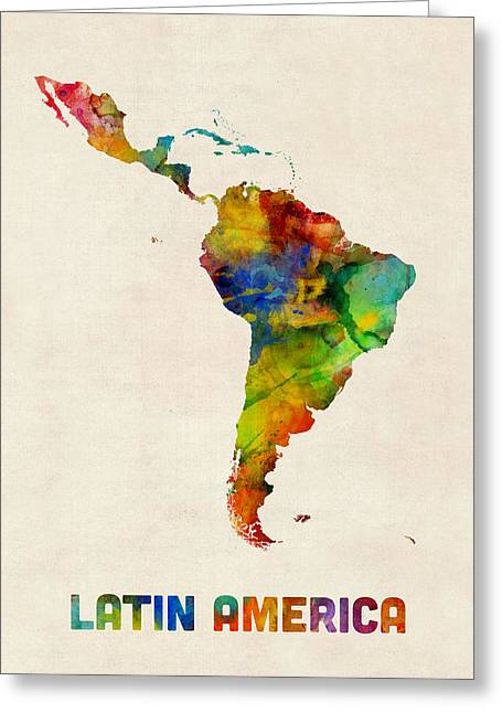 Greeting Card featuring the digital art Latin America Watercolor Map by Michael Tompsett