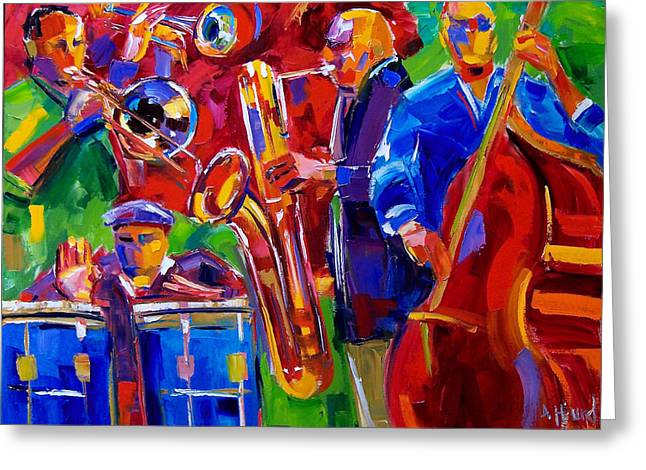 Latin Music Greeting Card by Debra Hurd