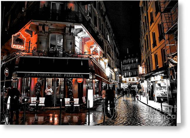 Latin Quarter Pizza Fusion Greeting Card by John Rizzuto