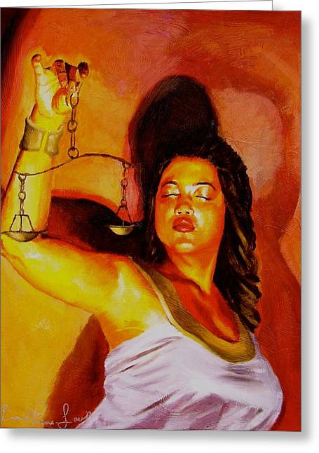 Latina Lady Justice Greeting Card by Laura Pierre-Louis