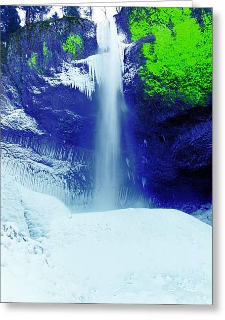 Latourell Falls In Winter Greeting Card by Jeff Swan