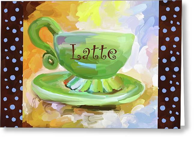 Latte Coffee Cup With Blue Dots Greeting Card by Jai Johnson
