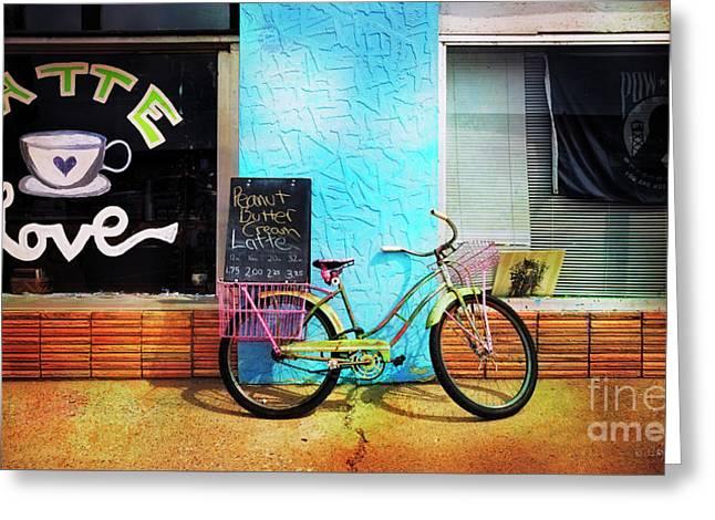 Latte Love Bicycle Greeting Card
