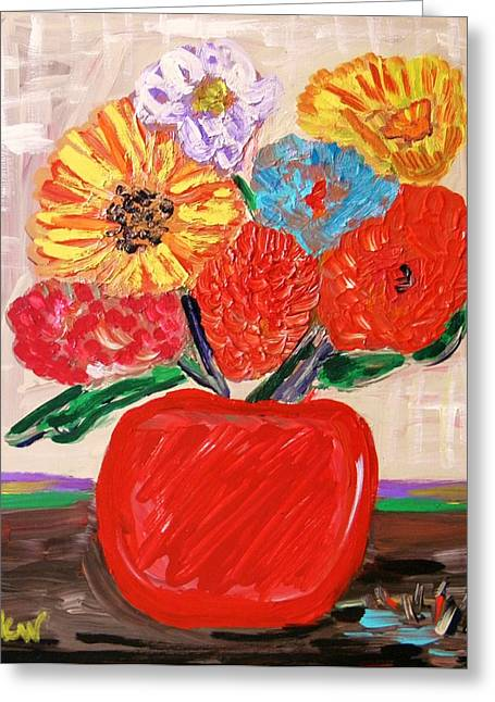 Greeting Card featuring the painting Lattice And Red Vase by Mary Carol Williams