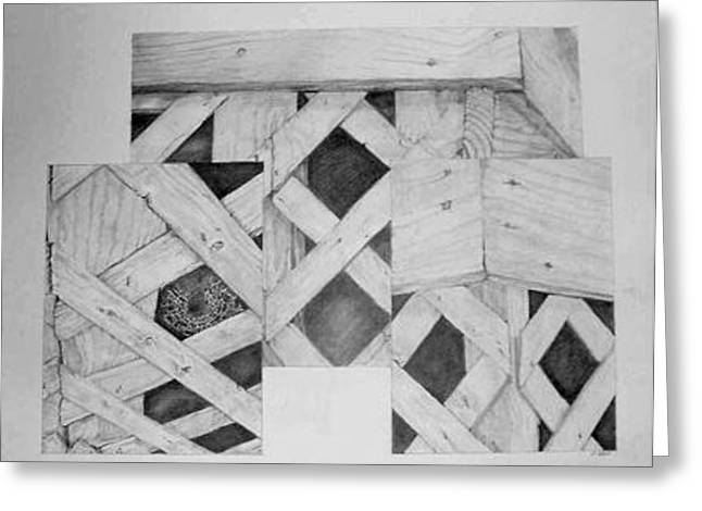 Lattice And Spider Triptych Greeting Card by Ladonna Idell