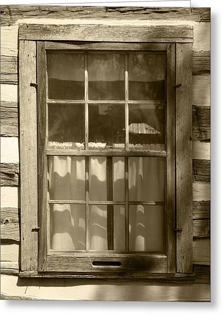 Lattice Window On Log Cabin Greeting Card