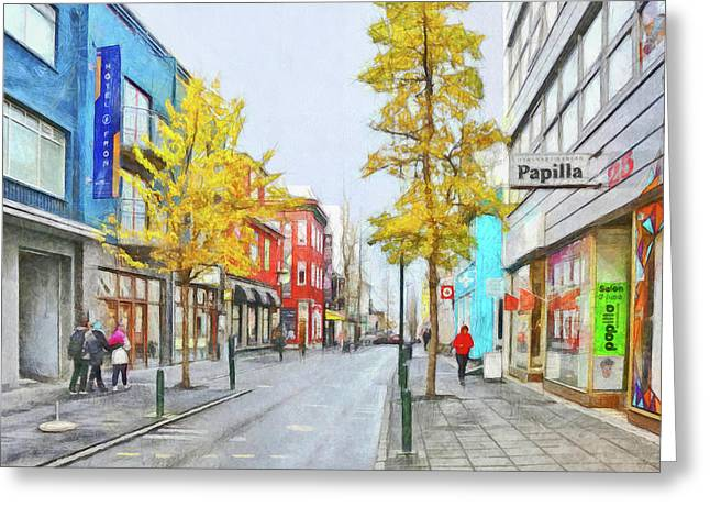 Greeting Card featuring the digital art Laugavegur Street In Downtown Reykjavik by Digital Photographic Arts