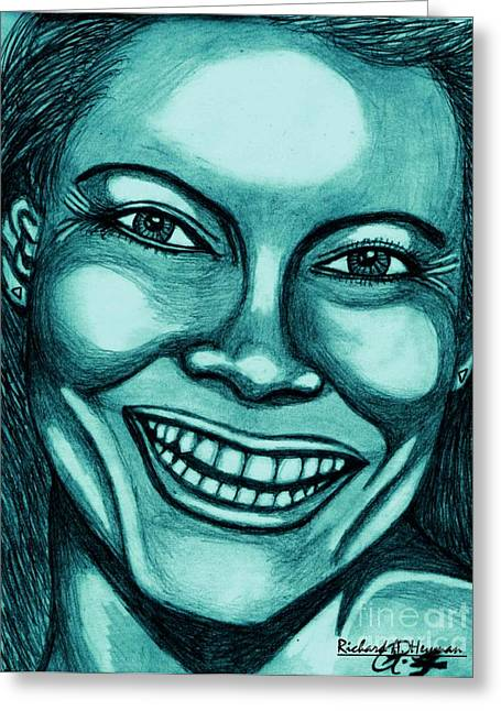 Laughing Girl In Blue 2 Greeting Card by Richard Heyman
