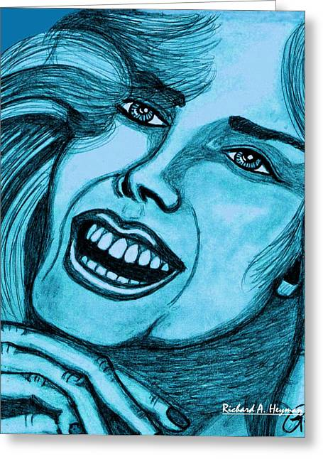 Laughing Girl In Blue Greeting Card by Richard Heyman