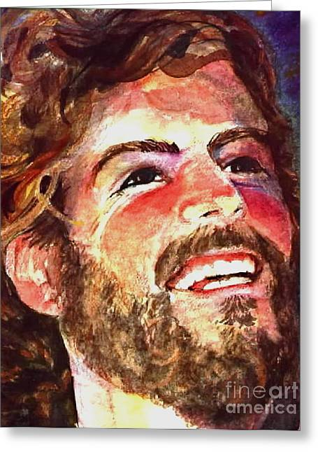 Laughing Jesus Greeting Card by Reveille Kennedy
