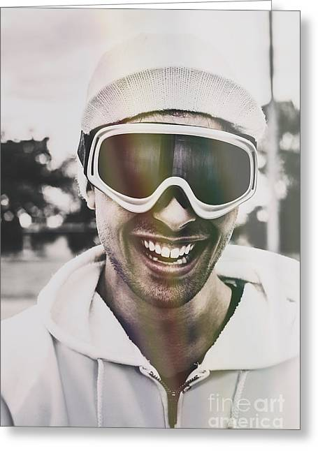 Laughing Man Wearing Ski Mask On Winter Holiday Greeting Card by Jorgo Photography - Wall Art Gallery