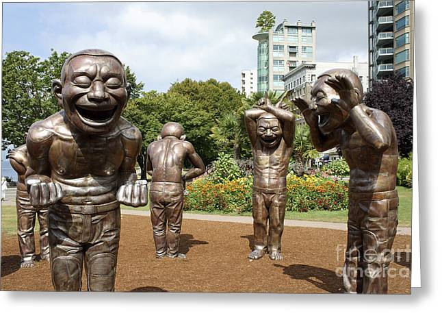 Laughing Men Sculptures Vancouver Canada Greeting Card by John  Mitchell
