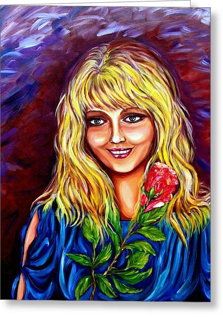 Laughing Rose Greeting Card by Yelena Rubin