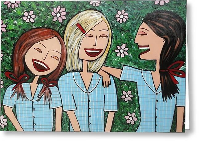 Laughing Schoolgirls Greeting Card