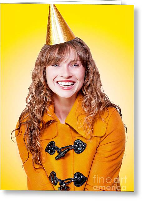 Laughing Winter Party Girl On Yellow Background Greeting Card by Jorgo Photography - Wall Art Gallery