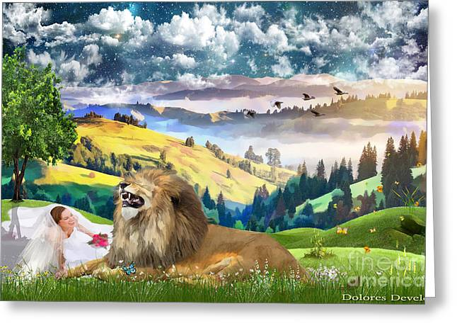 Laughing With The King Of Glory Greeting Card by Dolores Develde