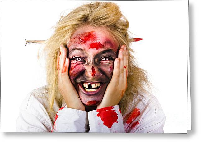 Laughing Zombie With Nail Through Head Greeting Card by Jorgo Photography - Wall Art Gallery