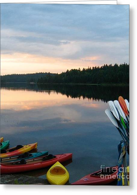Launch Pad - Kayaks @ Sunset4 - With Paddles Greeting Card by Sylvie Marie
