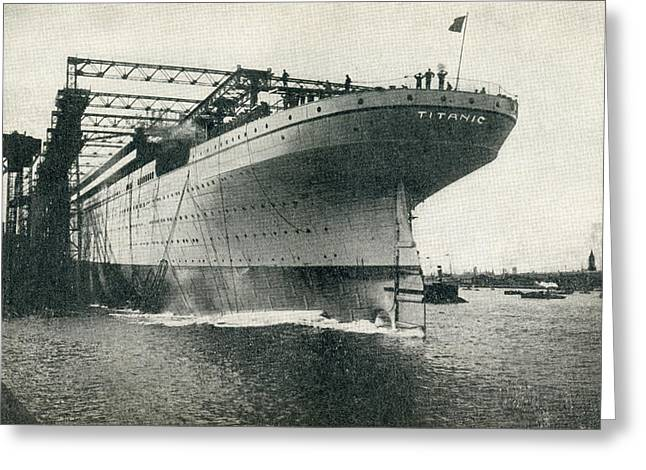Launching Of The Rms Titanic Of The Greeting Card by Vintage Design Pics