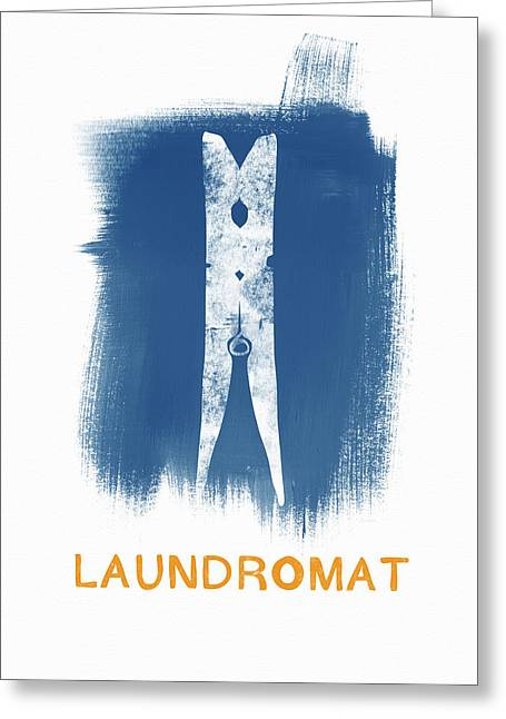 Laundromat- Art By Linda Woods Greeting Card by Linda Woods